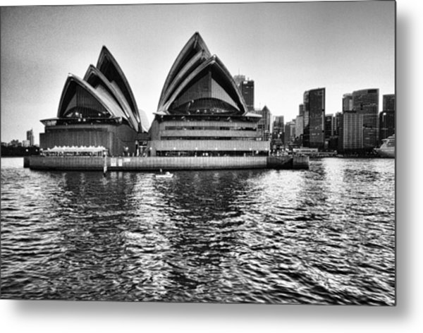 Sydney Opera House-black And White Metal Print