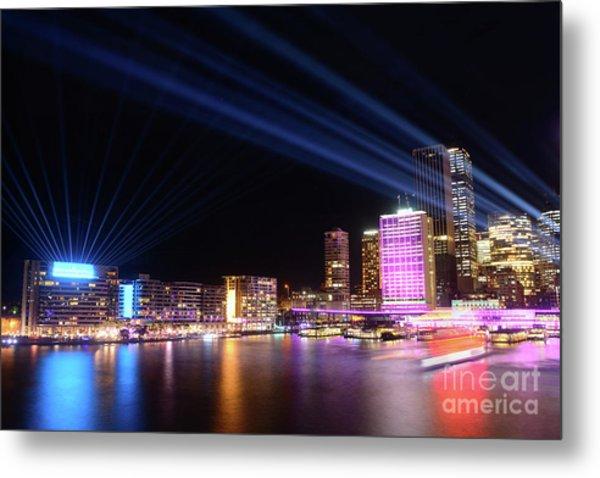 Sydney Skyline Illuminated By Kaye Menner Metal Print