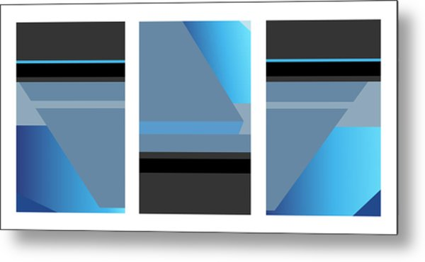 Symphony In Blue - Triptych 1 Metal Print