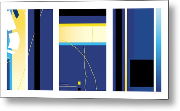 Symphony In Blue - Triptych2 Metal Print