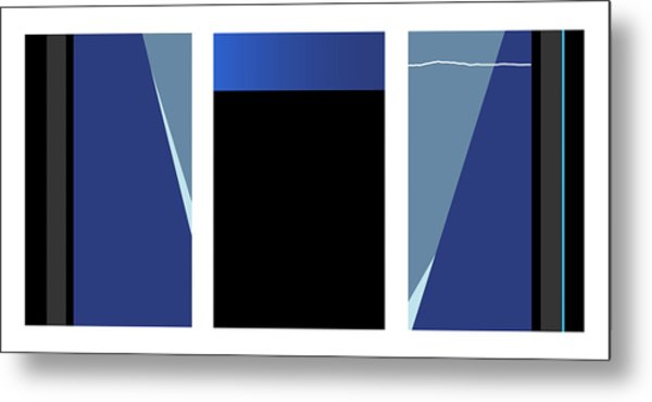 Symphony In Blue - Triptych 3 Metal Print