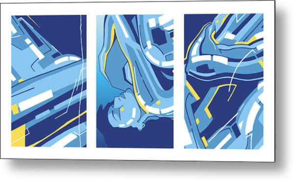 Symphony In Blue - Triptych 4 Metal Print