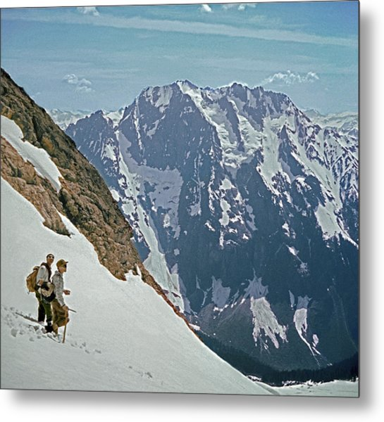 T-04402 Fred Beckey And Joe Hieb After First Ascent Forbidden Peak Metal Print