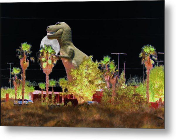 T-rex In The Desert Night Metal Print