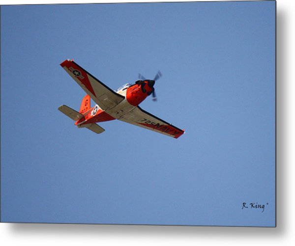 T34 Mentor Trainer Flying Metal Print