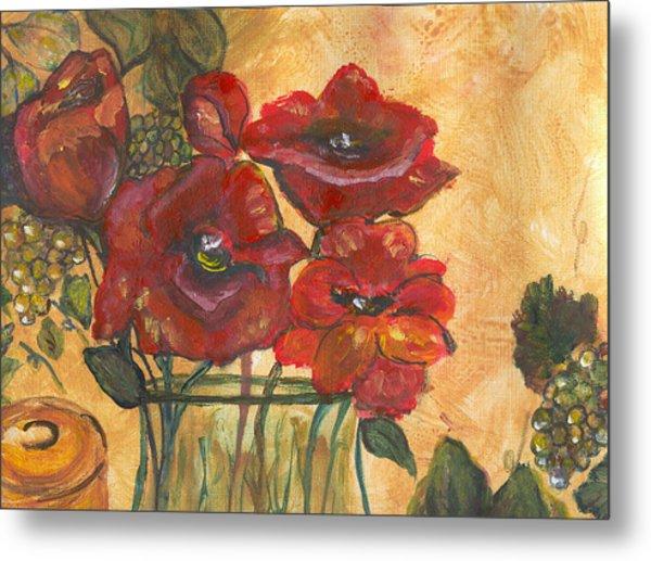 Table Flowers Metal Print by Pamela Wilson