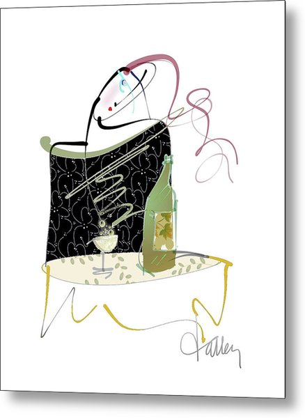 Metal Print featuring the mixed media Table For One by Larry Talley