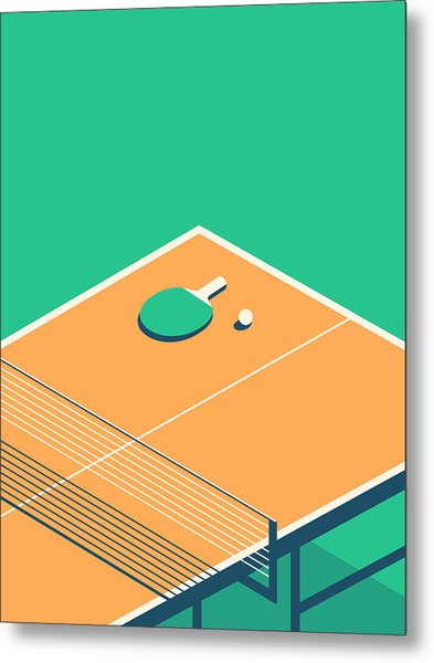 Table Tennis Table Isometric - Green Metal Print