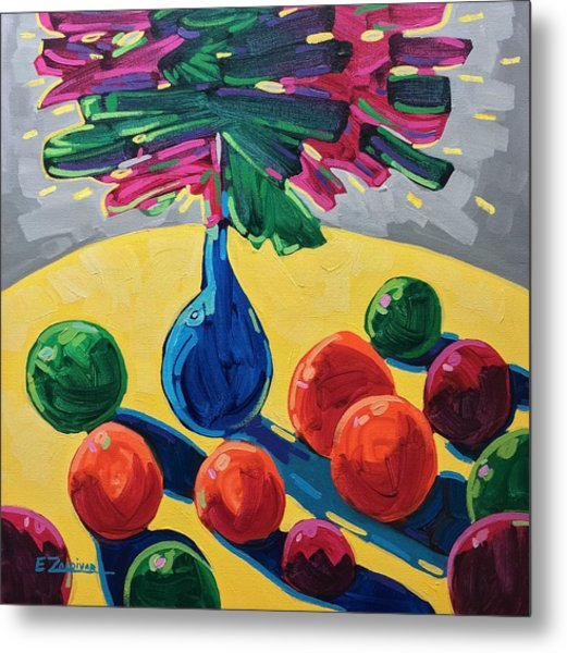 Table With Fruits And Flowers Metal Print