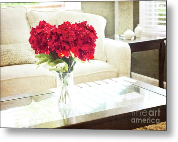 Table With Red Flowers Metal Print