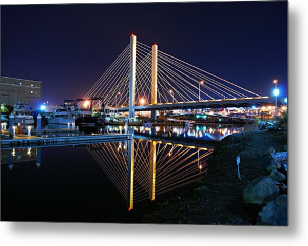 Tacoma Hwy 509 Bridge Up In Lights 2 Metal Print