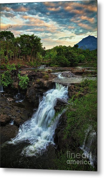 Metal Print featuring the photograph Tad Lo Waterfall, Bolaven Plateau, Champasak Province, Laos by Sam Antonio Photography