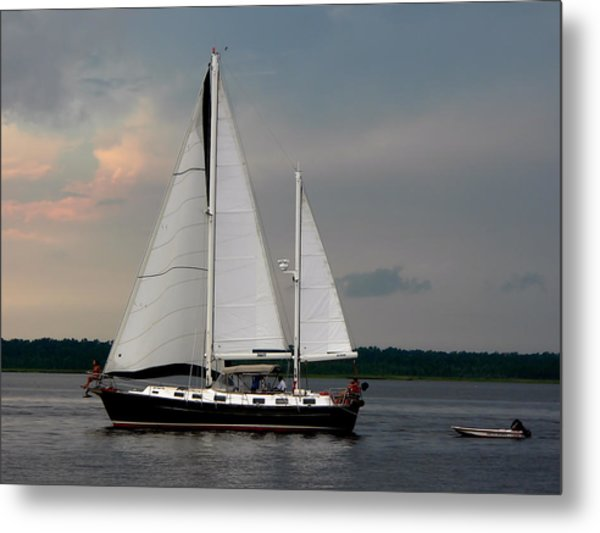 Tahiti Under Sail Metal Print
