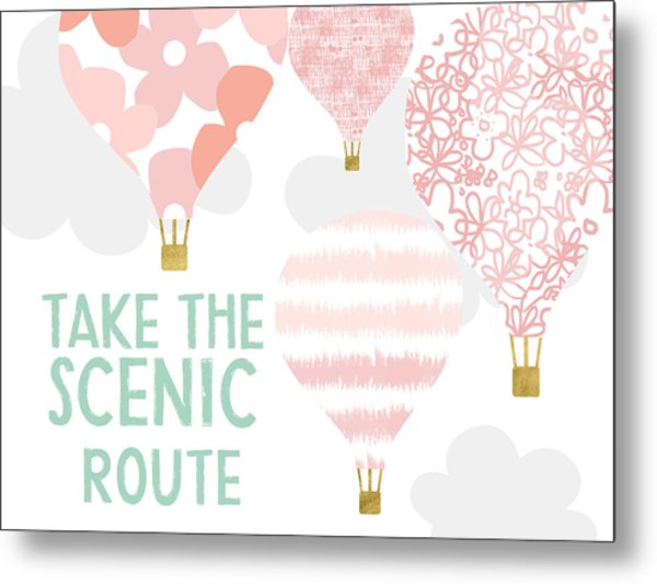 Take The Scenic Route Pink- Art By Linda Woods Metal Print
