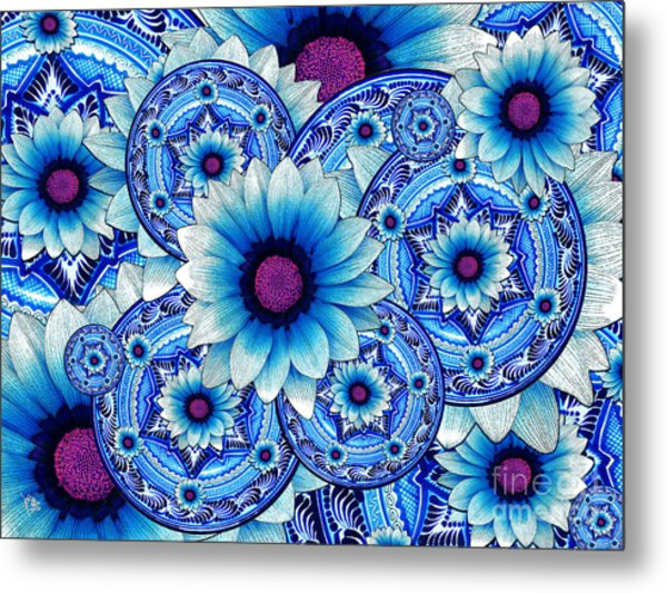 Metal Print featuring the mixed media Talavera Alejandra by Christopher Beikmann