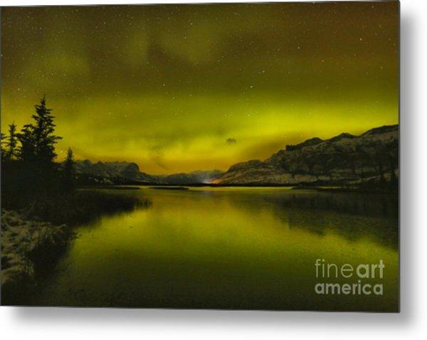 Talbot Lake Aurora Borealis Metal Print