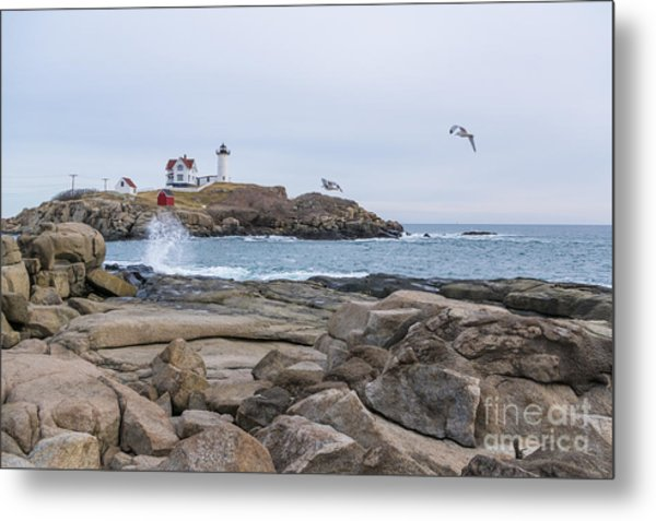 Tale Of Two Lighthouse Metal Print