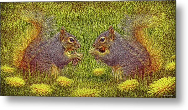 Tale Of Two Squirrels Metal Print
