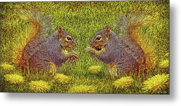 Tale Of Two Squirrels Metal Print