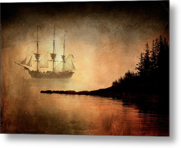 Tall Ship In The Fog Metal Print