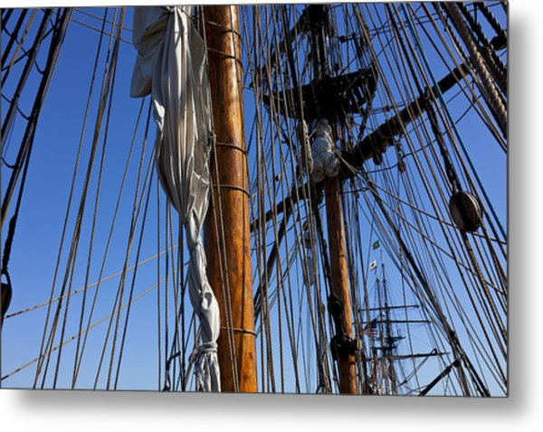 Tall Ship Rigging Lady Washington Metal Print
