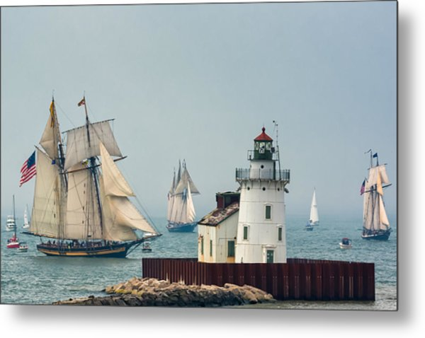 Tall Ships At Cleveland Lighthouse Metal Print