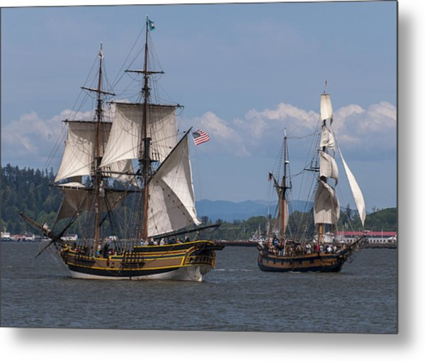 Tall Ships Square Off Metal Print