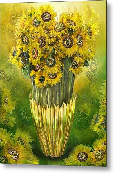 Tall Sunflowers In Sunflower Vase Metal Print
