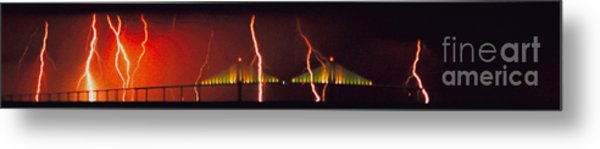 Tampa Bay Lightning Over The Skyway Bridge Metal Print