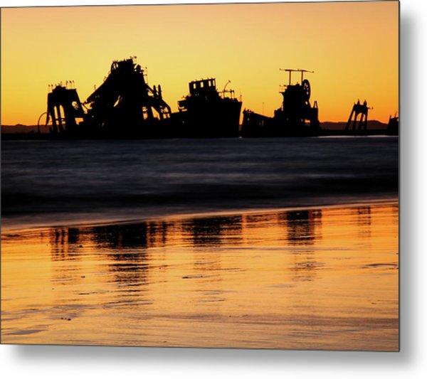 Tangalooma Wrecks Sunset Silhouette Metal Print