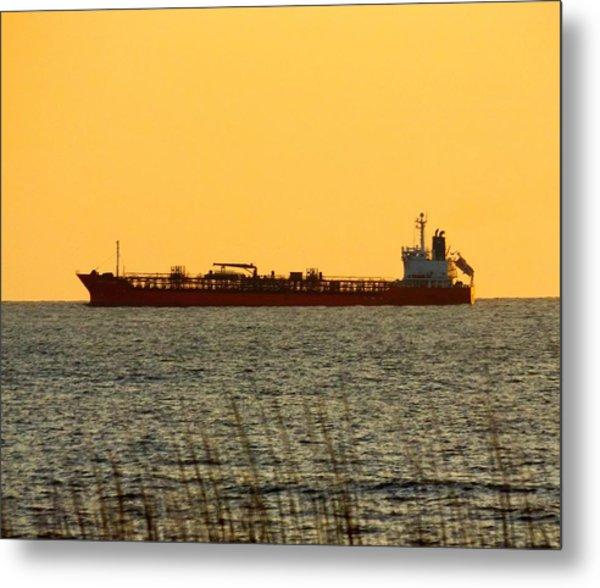 Tanker At Sunrise Metal Print