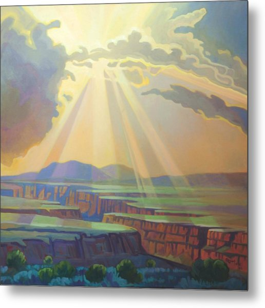 Taos Gorge God Rays Metal Print