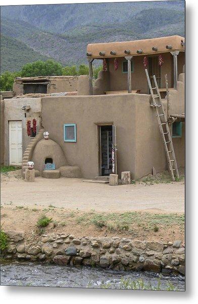 Taos Pueblo Adobe House With Pots Metal Print