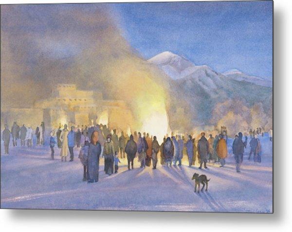 Taos Pueblo On Christmas Eve Metal Print by Jane Grover