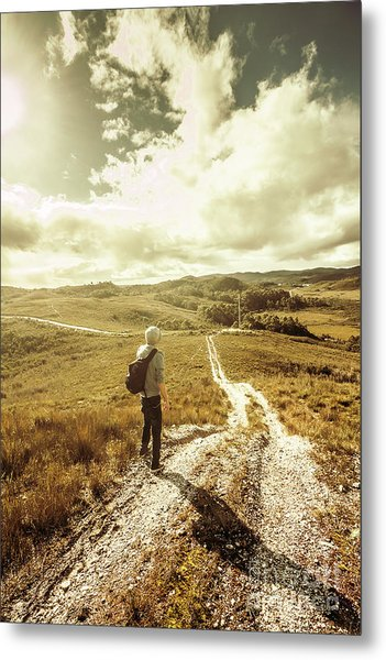 Tasmanian Man On Road In Nature Reserve Metal Print