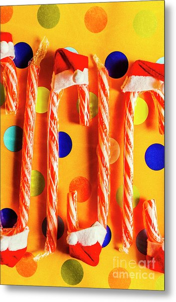 Tasty Candy Cane Sweets Metal Print