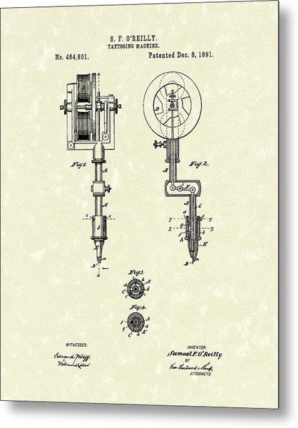 Tattoo Machine 1891 Patent Art Metal Print