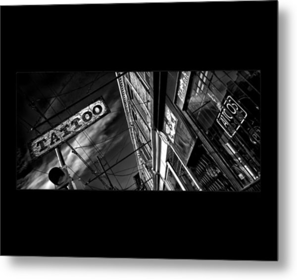 Metal Print featuring the photograph Tattoo Parlour On Black by Brian Carson