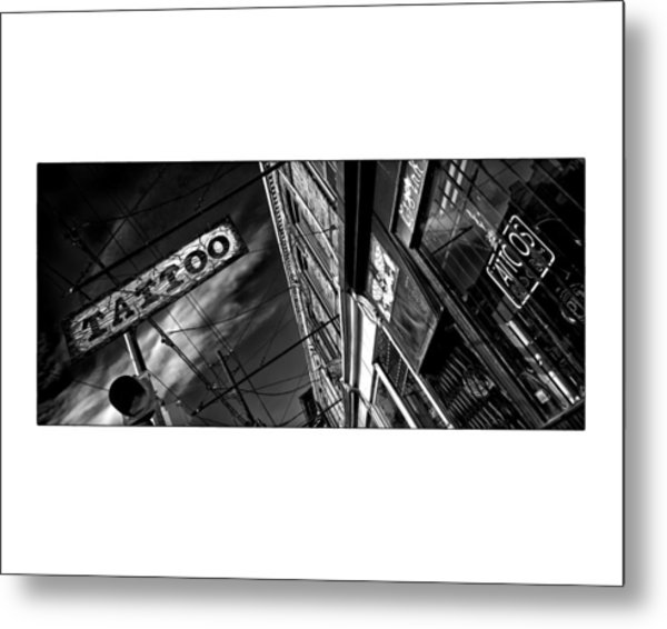 Metal Print featuring the photograph Tattoo Parlour On White by Brian Carson