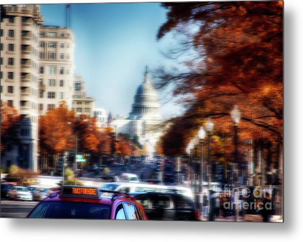 Taxi For Hire  Metal Print by Steven Digman