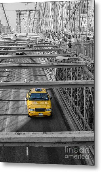 Taxi On The Brooklyn Bridge Metal Print