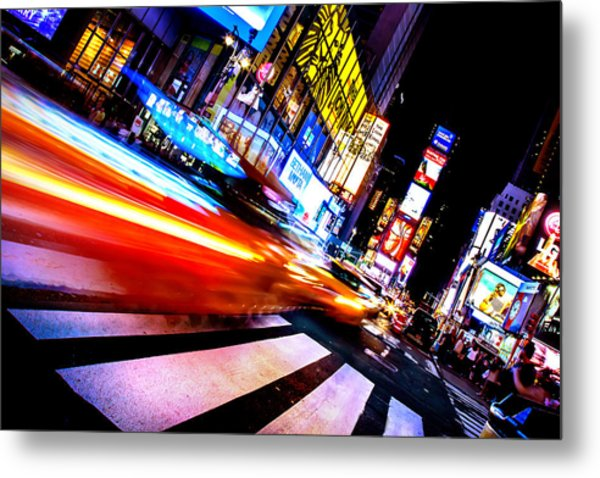 Taxis In Times Square Metal Print