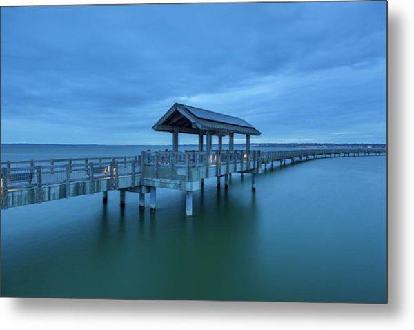 Taylor Dock Boardwalk At Blue Hour Metal Print