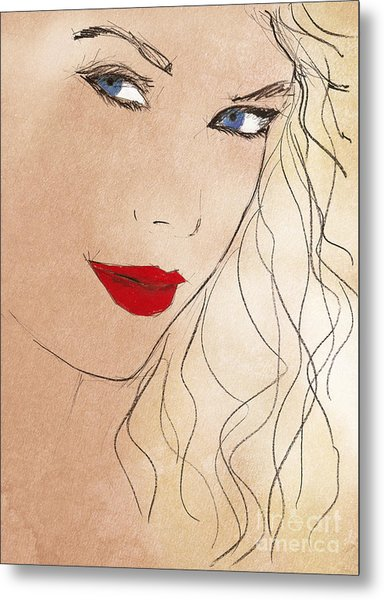 Taylor Red Lips Metal Print