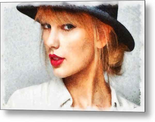 Taylor Swift Painting On Canvas Metal Print