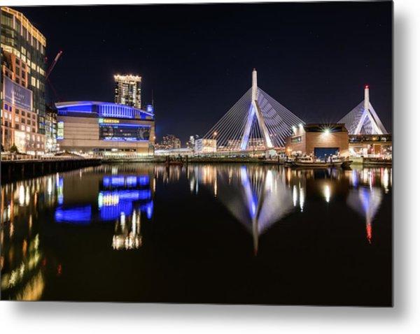 Td Garden And The Zakim Bridge At Night Metal Print