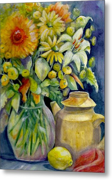 Tea Pot And Flowers Metal Print by KC Winters