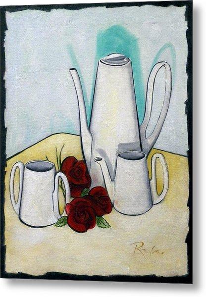 Tea Set And Roses Metal Print