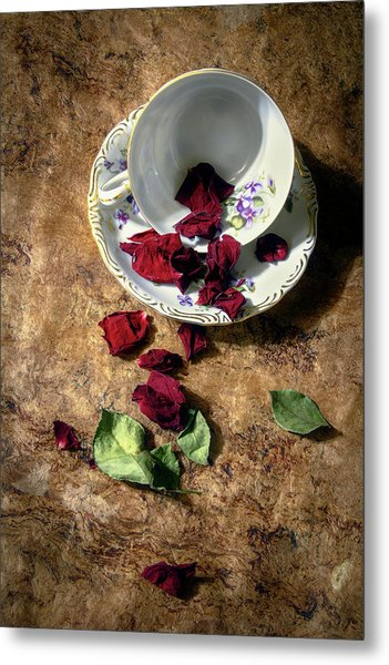 Teacup And Red Rose Petals Metal Print