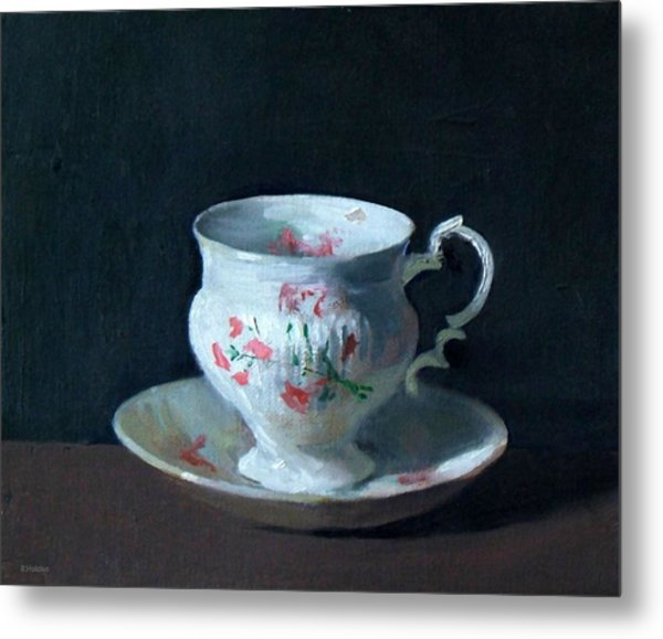 Teacup And Saucer On Dark Background Metal Print